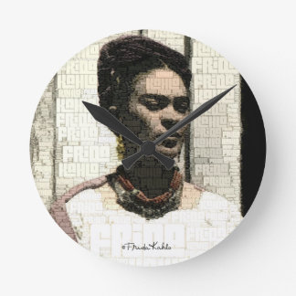 Frida Kahlo Textile Portrait Round Clock