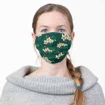 Frida Kahlo   White and Green Floral Pattern Adult Cloth Face Mask