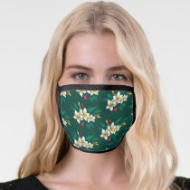 Frida Kahlo   White and Green Floral Pattern Face Mask