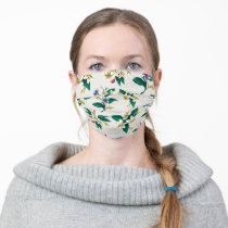 Frida Kahlo   White and Yellow Floral Pattern Adult Cloth Face Mask