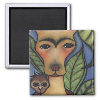 Frida & monkey 2 inch square magnet