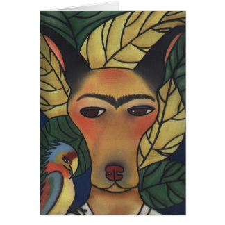 Frida with Parrot Greeting Card