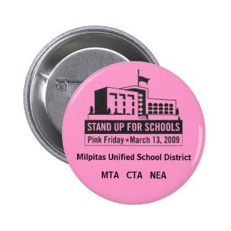 Friday13th, asociación del profesor de Milpitas, C Pin Redondo De 2 Pulgadas