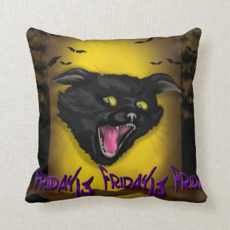 FRIDAY CAT 13 CARTOON THROW PILLOW 16 X 16