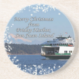 Friday Harbor Ferry Christmas Happy Holidays Drink Coasters