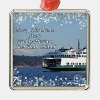 Friday Harbor Ferry Christmas Happy Holidays Ornaments
