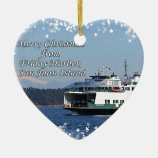 Friday Harbor Ferry Christmas Happy Holidays Ornament