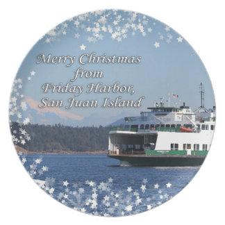 Friday Harbor Ferry Christmas Happy Holidays Party Plates