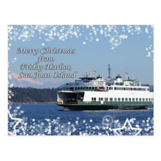 Friday Harbor Ferry Christmas Happy Holidays Postcard