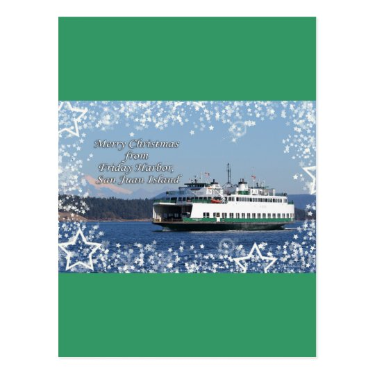 Friday Harbor Ferry Christmas Happy Holidays Postcard