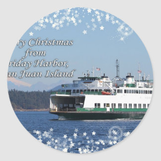 Friday Harbor Ferry Christmas Happy Holidays Round Stickers