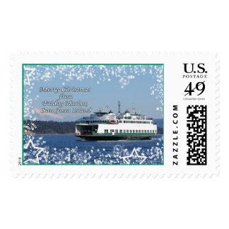 Friday Harbor San Juan Ferry Christmas Postage Stamp