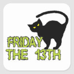 Friday The 13th - Bad Luck Day Superstition Square Stickers