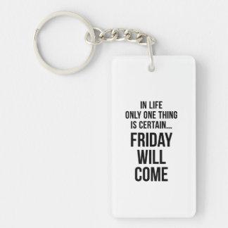 Friday Will Come Work Motivational White Black Single-Sided Rectangular Acrylic Keychain