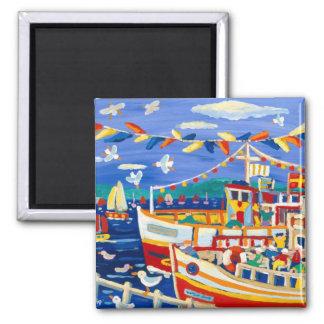Fridge Art: Beany Hats and Pleasure Boats 2 Inch Square Magnet