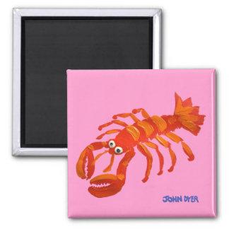 Fridge Art: John Dyer Red Lobster 2 Inch Square Magnet