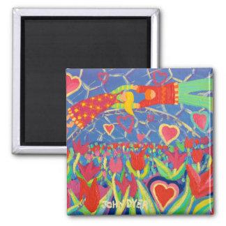Fridge Art: Temptation in the Tulips 2 Inch Square Magnet