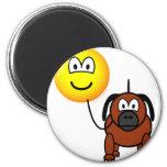 Dog walking emoticon   fridge_magents_magnet