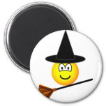Witch flying emoticon broomstick  fridge_magents_magnet