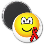 Aids awareness emoticon Red ribbon  fridge_magents_magnet