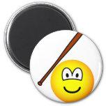 Baseballing emoticon baseball bat  fridge_magents_magnet