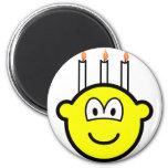 Birthday cake buddy icon Three candles  fridge_magents_magnet