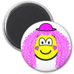 Curly pink hair clown buddy icon   fridge_magents_magnet
