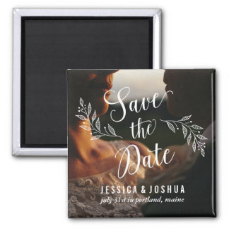 Fridge Magnet Photo Save the Date Calligraphy