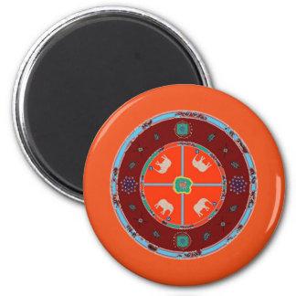 Fridge Magnet Round Elephants Orange