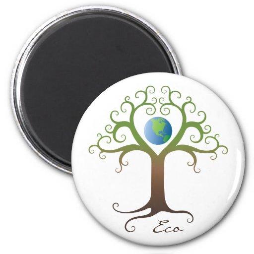 Fridge magnet: Swirly heart tree with planet earth