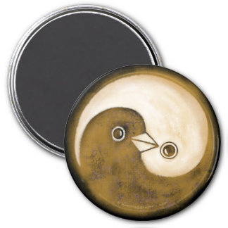 Fridge Magnet with gold YinYang peace doves.