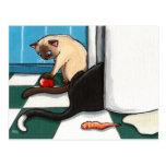 Fridge Raiders Cat Postcard
