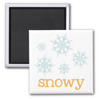 Fridge Weather - SNOWY 2 Inch Square Magnet