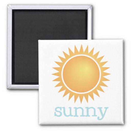 Fridge Weather - SUNNY 2 Inch Square Magnet