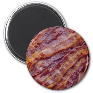 Fried bacon 2 inch round magnet
