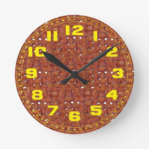 Fried Bacon With Numbers Round Clock