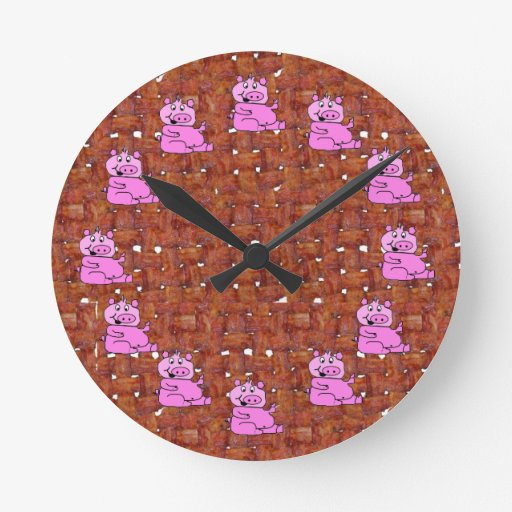 Fried Bacon With Pigs Round Wallclock