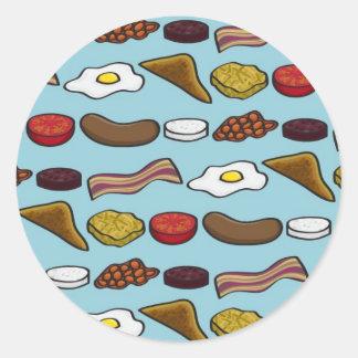 Fried Breakfast Classic Round Sticker