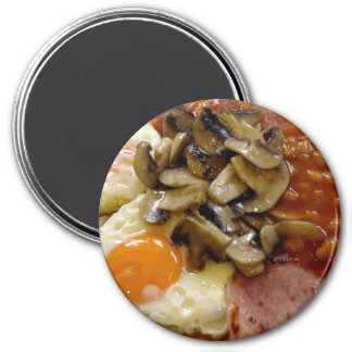Fried Breakfast Eggs Beans Bacon 3 Inch Round Magnet