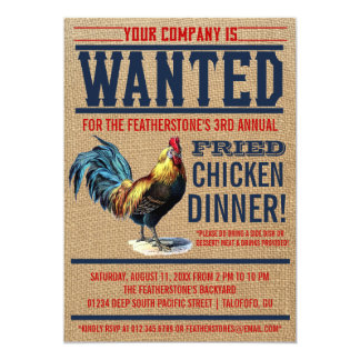 "Fried Chicken Dinner Party Invitations 5"" X 7"" Invitation Card"
