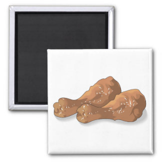 fried chicken legs drumsticks 2 inch square magnet