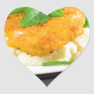 Fried chicken, mashed potatoes and green beans heart sticker