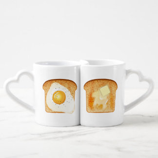 Fried egg and Butter on toast Coffee Mug Set
