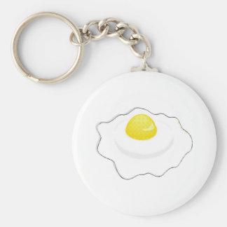 fried egg basic round button keychain
