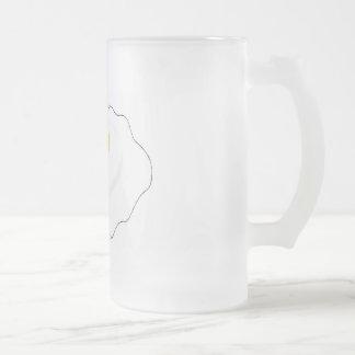 fried egg frosted glass beer mug