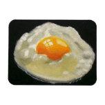 Fried Egg on Black: Realistic Painting Rectangular Photo Magnet