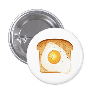 Fried egg on toast pinback button