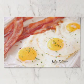 Fried eggs and bacon paper placemat