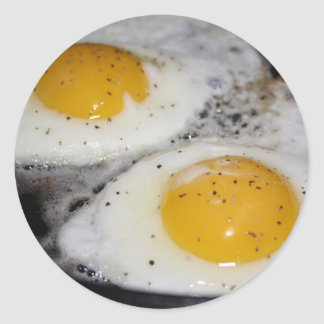 Fried Eggs eggs over easy Classic Round Sticker