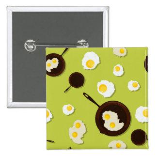 Fried Eggs Fun Food Design 2 Inch Square Button